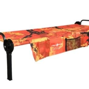 Sol-O-Cot single bed from Disc-O-Bed Camping bed in the limited edition in orange including the side pocket for one person - field bed to set up for easy transport