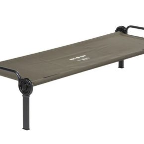 Sol-O-Cot bed for camping in olive by Disc-O-Bed camping bed in black for one person - field bed to set up for easy transport