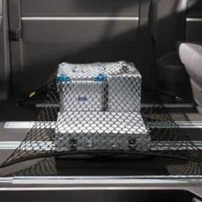 Original VW luggage net for securing loads for VW T5 / T6 / T6.1 with serial VW rail system and lashing eyes